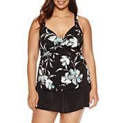 Trimshaper Floral Swim Dress Plus