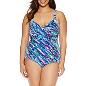 Trimshaper Pattern One Piece Swimsuit Plus