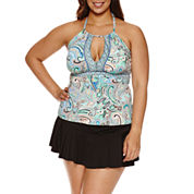 Liz Claiborne® Paisley Bliss Keyhole Tankini or Skirted Hipster- Plus