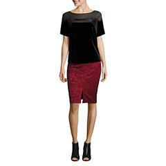 Worthington Short Sleeve Scoop Neck Velvet Blouse and Slit Front Pencil Skirt