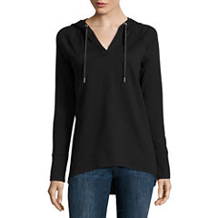 Liz Claiborne Long Sleeve Pullover Hoodie Tunic