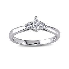 1/4 CT. T.W. Diamond 14K White Gold 3-Stone Marquise Bridal Ring
