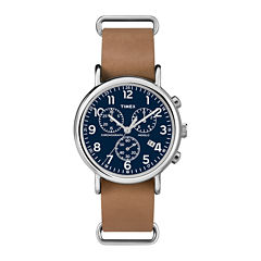 Timex® Weekender Slip-Thru Tan Leather Strap Chronograph Watch TW2P623009J
