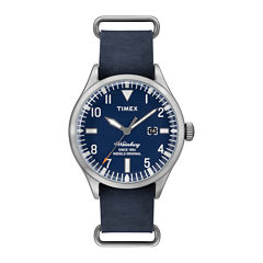 timex men s watches for jewelry watches jcpenney timex® originals modern mens blue leather strap watch tw2p64500ab