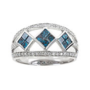 LIMITED QUANTITIES 1-1/10 CT. T.W. White and Color-Enhanced Blue Diamond Ring