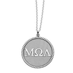Personalized Greek Letters 20mm Rope-Border Circle Pendant Necklace