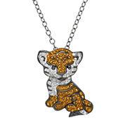 Animal Planet™ Crystal Sterling Silver Endangered Bengal Tiger Pendant Necklace