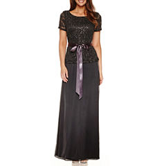 Blu Sage Short Sleeve Sequin Evening Gown