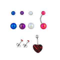 Stainless Steel 316L 6-pc 14 Ga. 3mm Bezel And 5mm And 8mm Loose Beads Belly Ring Set