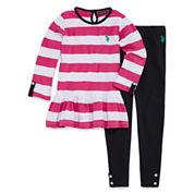 U.S. Polo Assn. Girls Long Sleeve Pant Set-Preschool