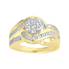 LIMITED QUANTITIES 1 CT. T.W. Diamond Two-Tone Gold Swirl Ring