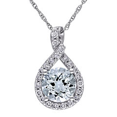 Genuine Aquamarine and 1/5 CT. T.W. Diamond Criss-Cross Pendant Necklace