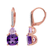 Genuine Amethyst, Rose de France and Diamond-Accent Rose Gold Over Silver Earrings