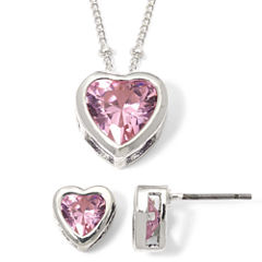 Rose Heart Cubic Zirconia Pendant Necklace & Earring Set