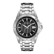 Bulova® Mens Gray Dial Stainless Steel Watch 96B169