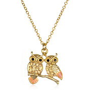 Mixit™ Crystal-Accent Gold-Tone Owl Pendant Necklace