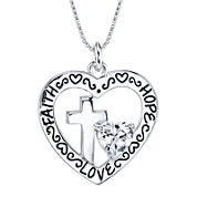 Inspired Moments™ Sterling Silver Faith, Hope, Love Pendant Necklace