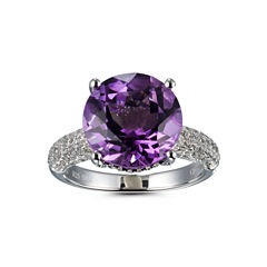 Womens Purple Amethyst Sterling Silver Solitaire Ring