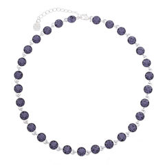 Monet Jewelry Womens Purple And Silvertone Collar Necklace
