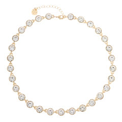 Monet Jewelry Womens Clear And Goldtone Collar Necklace