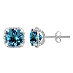 Cushion Blue Topaz Sterling Silver Stud Earrings