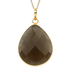Womens Brown Quartz Gold Over Silver Pendant Necklace