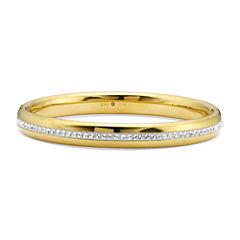 Gold Opulence 14KGold Over Diamond Resin CrystalBangle Bracelet