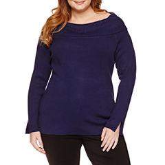 Liz Claiborne Long Sleeve Boat Neck Pullover Sweater-Plus