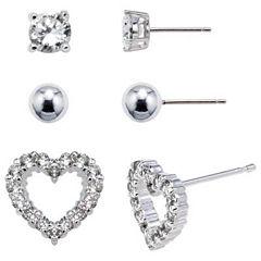 Sterling Silver 3-Pr. Earring Set