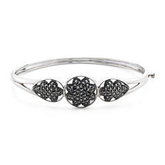 Pavé Marcasite Sterling Silver Floral Bangle