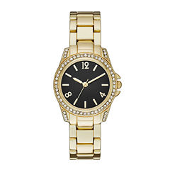 Womens Crystal-Accent Black Dial Gold-Tone Bracelet Watch