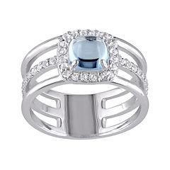 Genuine Blue and White Topaz Split-Band Ring