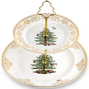 Spode® Christmas Tree Gold Collection 2-Tier Porcelain Cake Stand