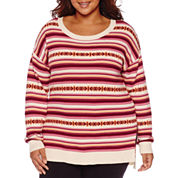 Arizona Long Sleeve Pullover Sweater-Juniors Plus