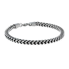 Mens Antique Finish Stainless Steel 9
