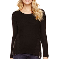 a.n.a® Long-Sleeve Cable Sweater- Petite
