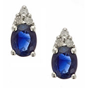 LIMITED QUANTITIES! Diamond Accent Oval Blue Sapphire 10K Gold Stud Earrings