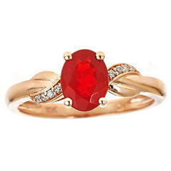 LIMITED QUANTITIES! Diamond Accent Orange Opal 10K Gold Cocktail Ring