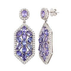Blue Tanzanite Sterling Silver Drop Earrings