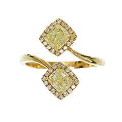 Womens 1 1/2 CT. T.W. Princess Yellow Diamond 18K Gold Bypass Ring