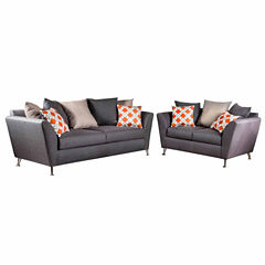 Miella Contemporary Fabric Sofa + Loveseat Set