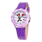 Disney Minnie Mouse Glitz Purple Leather Strap Watch