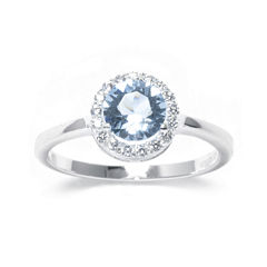 Blue Crystal Sterling Silver Halo Ring