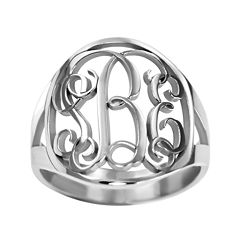 Personalized 18mm Vine Monogram Ring