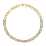 Diamond-Accent 18K Gold Over Brass Chevron Necklace