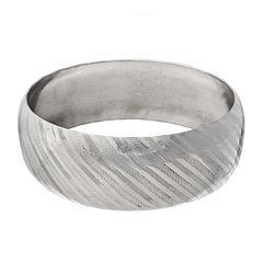 Stainless Steel Diamond-Cut Bangle Bracelet