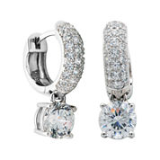 100 Facets by DiamonArt® Cubic Zirconia Sterling Silver Drop Hoop Earrings