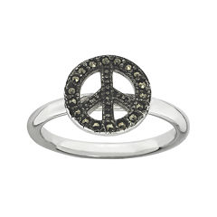 Personally Stackable Marcasite Sterling Silver Peace Sign Ring