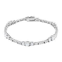 DiamonArt® Cubic Zirconia Sterling Silver Graduated Bracelet