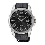 Seiko® Le Grand Sport Mens Black Leather Strap Solar Sport Watch SNE397
